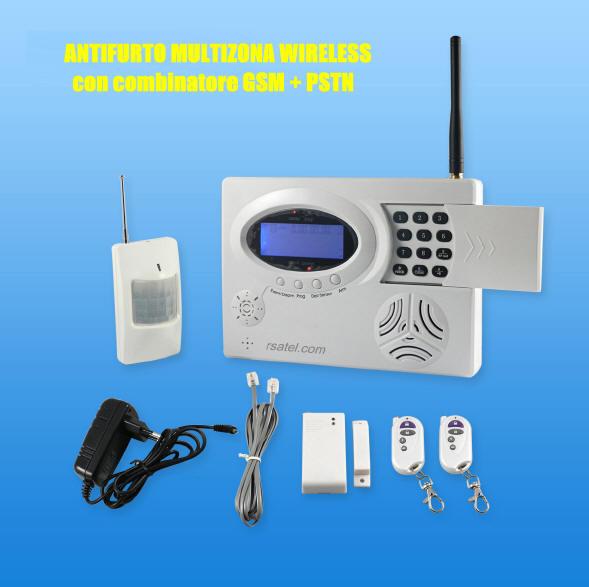 Antifurto wireless combinatore GSM: Antifurto senza fili con allarme GSM + allarme via SMS ...