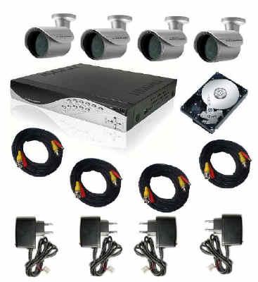 Kit videosorveglianza 4 telecamere + videoregistratore digitale, kit tvcc completo 4 telecamere ...