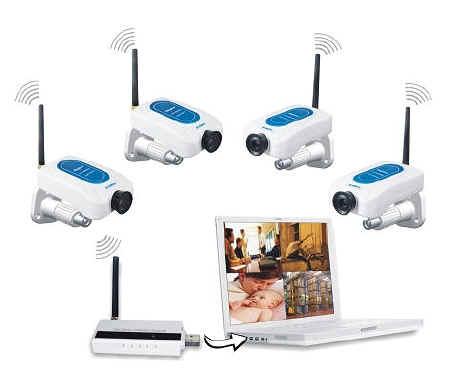 Kit 4 telecamere senza fili wireless + ricevitore usb con videoregistratore, kit ...