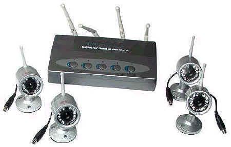 Kit 4 Telecamere wireless senza fili infrarossi da esterno. Kit di 4 telecamere senza fili via ...